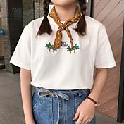 Mujer Activo Casual/Diario Camiseta,Escote Redondo Estampado Manga Corta Algodón