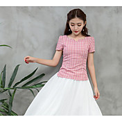 Mujer Simple Casual/Diario Camisa,Escote Redondo Un Color A Rayas Manga Corta Algodón
