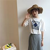 Mujer Simple Deportes Camiseta,Escote Redondo Geométrico Media Manga Algodón Medio