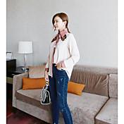 Mujer Simple Casual/Diario Primavera Camisa,Escote Chino Bordado Manga Larga Seda Medio