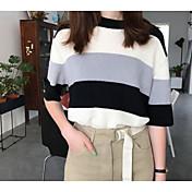 Mujer Regular Pullover Casual/Diario Un Color A Rayas Escote Redondo Media Manga Algodón Primavera Otoño Medio Microelástico