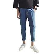Hombre Sencillo Tiro Medio Microelástico Vaqueros Pantalones,Corte Recto Un Color