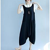 レディース ストリートファッション ミッドライズ ルーズ マイクロエラスティック オーバーオール パンツ ソリッド