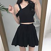 Mujer Simple Noche Casual/Diario Verano Tank Top Pantalón Trajes,Halter Un Color Sin Mangas Microelástico