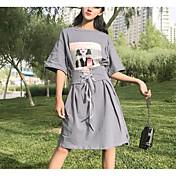 Mujer Línea A Vestido Casual/Diario Estampado Escote Redondo Sobre la rodilla Manga Corta Algodón Verano Tiro Medio Microelástico Fino