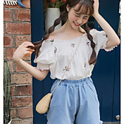 Mujer Simple Casual/Diario Camiseta,Escote Barco Bordado Media Manga Algodón