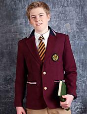 vin de uniformes scolaires costume rouge avec passepoils contrastés