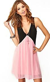 s&j Frauen sexy ausgeschnitten ärmellosen Chiffon-Kleid Farbe Reinheit