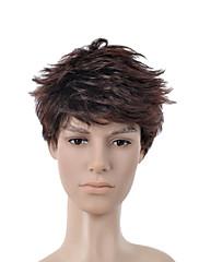 kratka kovrčava tamno smeđa s punim bang muškaraca kosa vlasulja