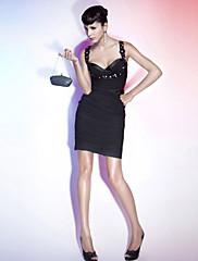 TS Couture Koktejlový večírek Dovolená Šaty - Sexy Otevřená záda Malé černé šaty Pouzdrové Srdce Popruhy Krátký / MiniŠifón Elastický