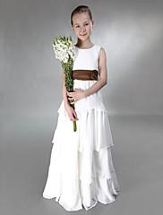 LAN TING BRIDE Na zem Šifón Satén Šaty pro malou družičku A-Linie Princess Klenot Empír s Mašle Květina(y) Šerpa / Stuha