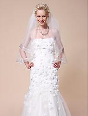 """Závoje Jedna vrstva Závoje po konečky prstů Lemování se stuhou 150 cm (59,06"""") Tyl Bílá Slonová kostÁčkový střih, plesové šaty,"""