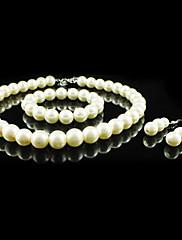 豪華な人造真珠♥ジュエリーセット(ネックレス、ブレスレット、ピアス)