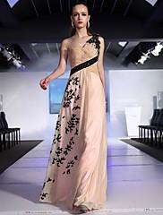 clearance! plášť / sloupec jedno rameno podlahy délka šifón s nášivky a lemování večerní šaty