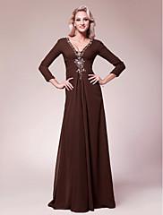 LAN TING BRIDE A-Linie Větší velikosti Malé Šaty pro matku nevěsty - Sexy Na zem 3/4 délka rukávu Šifón - Korálky Boční řasení