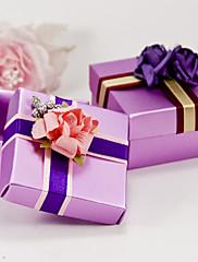 lila náměstí prospěch krabici s mašlí a květin (sada 6)