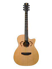 """ギグケース付41 """"イルカ彫るカナダのスプルース合板カッタウェイジャンボアコースティックギター"""