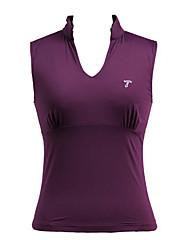 Sportovní oblečení purpurová dámská jóga bez rukávů v límec