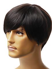 krátké capless Pánská móda černé rovné vlasy paruka