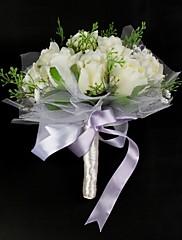 Elegantní saténový / bavlna se stuhou kulatý kytice tvaru svatební