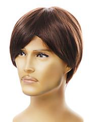 krátké capless Pánská móda hnědé rovné vlasy paruka