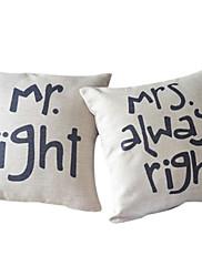 カップルの綿/リネン装飾的な枕カバーの2ロマンスのセット
