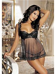 Shirley Hollywooda seksi crnom trakom mreže spavaćeg haljini (incl.panties)