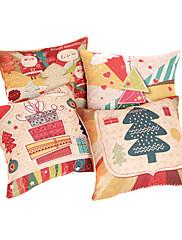 set od 4 čestit Božić pamuka / lana dekorativni jastuk naslovnici 4