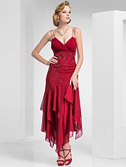 TS Couture フォーマルイブニング ダンスパーティー ドレス - 1920年代風 タイト/コラム キャミソール セミロング丈 シフォン とともに ビーズ クリスクロス