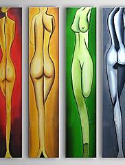 Ručně malované Lidé / Akt Čtyři panely Plátno Hang-malované olejomalba For Home dekorace