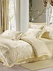 4ピースベージュジャガード綿布団カバーセットをバラ