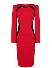 ファッションコレクションOLスタイルコントラストカラーレースワンピース
