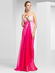シース/列スパゲッティ恋人の床の長さのシフォンイブニング/ウェディングドレス
