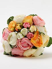 Elegante mano atada ramo de novia de raso de la boda