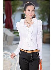 korea stylu white collar ruffle puff rukáv