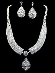 Parure de bijoux en strass et alliage d'argent
