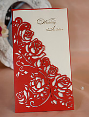 ラップ式 結婚式の招待状 招待状カード-50 ピース/セット クラシック / フローラル カード用紙 21.5cm*11.5cm