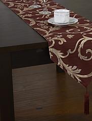 古典的なポリエステルジャカード赤い花のテーブルランナー