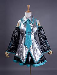 Inspirovaný Vocaloid Hatsune Miku Video Hra Cosplay kostýmy Cosplay šaty / Šaty Patchwork Bez rukávůTričko / Sukně / Kravata / Rukávy /