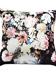 """18 """"スクエア咲く花のプリントポリエステル装飾的な枕カバー"""