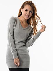 fitspace女性のVネックロングセーター税込.灰色のネッカチーフ