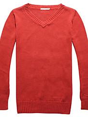 fitspace女性のVネックソリッドセーターの赤