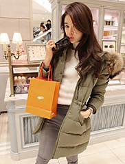 女性のアライグマの毛皮の襟ロングDowncoat