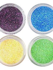 4 Barvy Laser Glitter Acrylic Powder sada pro 3D Nail Art č.3