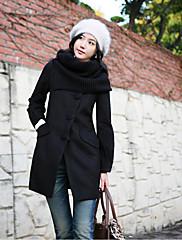 婦人向け 冬 ソリッド コート ピンク / ブラック ウール 長袖 厚手