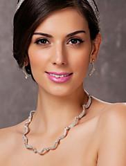 オーストリアのラインストーンのネックレスとイヤリングのセットを持つ合金