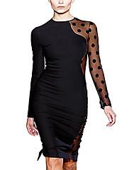 Dámská Kontrast Mesh Tužka Elegantní Midi šaty
