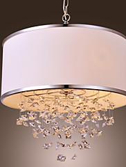 Moderní křišťálový závěsný lustr se 4 žárovkami a béžovým stínidlem