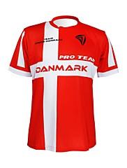 KOOPLUS - デンマーク代表チームポリエステル+ライクラ半袖赤+白サイクリングTシャツ
