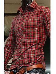 男性用 カジュアル シャツ,長袖 コットン レッド